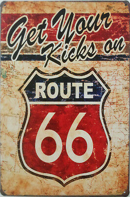 £6.85 • Buy  Get Your Kicks On Route 66  American Vintage Retro Style Metal Plaque Tin Sign