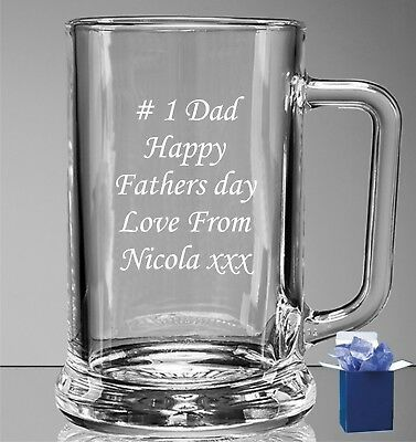 Personalised Engraved Pint Beer Glass Tankard 18th 21st 30th 40th Birthday Gift • 9.98£