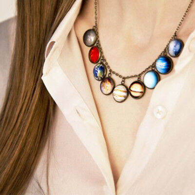 £2.59 • Buy Necklace Glass Universe Galaxy Lovely Planet Pendant Solar System Necklace