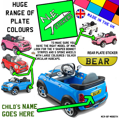 BACK (+front?) Kids Number Plate For ROLLPLAY Electric 6v MINI Cooper S Car Toy • 0.99£