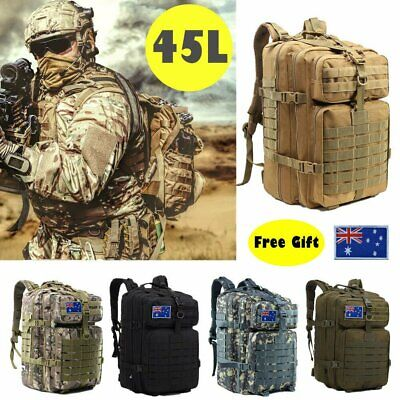 AU34.90 • Buy 45L Outdoor Military Rucksack Tactical Backpack Camouflage Hiking Camping Bag