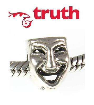 £16.49 • Buy TRUTH PK 925 Sterling Silver Comedy / Tragedy Mask Charm Bead, Acting Theatre