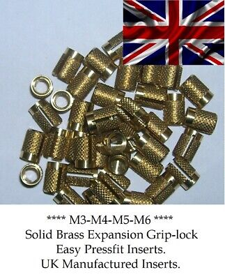 £1.95 • Buy Threaded Solid Brass Expansion Insert For Plastic M3-m4-m5-m6 Simple Pressfit.