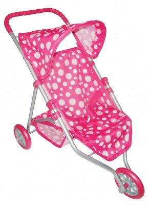 Dolls 3 Wheeler Pushchair Stroller Pink Dots NEW • 14.95£