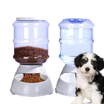 2X 3.5L Large Automatic Pet Food Drink Dispenser Dog Cat Feeder Water Bowl Dish • 15.49£