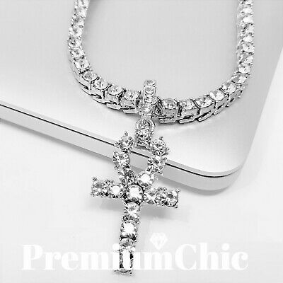 $14.49 • Buy ANKH Cross Pendant Tennis Chain 14K Plated Gold Silver Rose HipHop ICED Necklace