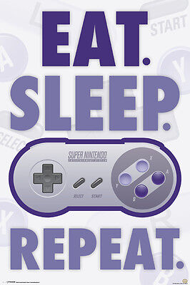 $10.99 • Buy NINTENDO EAT SLEEP GAME REPEAT 24x36 POSTER NEW VIDEO GAME GAMER MARIO ZELDA WII