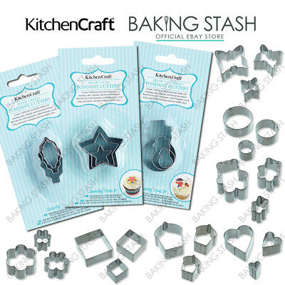 Kitchen Craft Mini Fondant Cutters For Cakes Icing Sugarpaste Biscuits -Set Of 3 • 3.25£