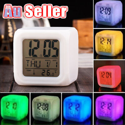 AU13.85 • Buy 7 Color Mute LED Change Digital Bedroom Child Night Light Glowing Alarm Clock