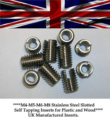 Stainless Steel Slotted Self Tapping Threaded Insert For Wood & Plastic M5,M6,M8 • 1.93£