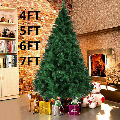 Christmas Xmas Tree 5ft 6ft 7ft With Metal Stand Xmas Bushy Pine Branches • 25.99£