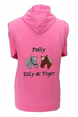 Personalised Embroidered Horse Pony Hoodie Two Horse Heads Change The Colours • 16.99£