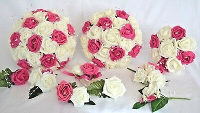 £4.95 • Buy Wedding Bouquet With Pink Cerise Flowers. Flower Girl Wand, Buttonhole, Corsage