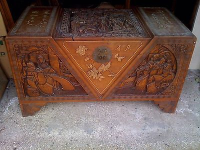 CHINESE CAMPHOR WOOD CARVED TRUNK / CHEST With I Think? Mother Of Pearl Figures • 275£