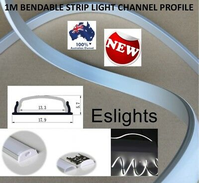 AU24.95 • Buy 1m Bendable Aluminium Channel Profile Bar Frosted Track For Led Strip Lights