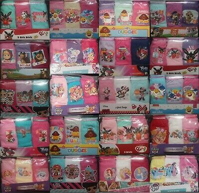3 X Pairs Of 100% COTTON Girls Character BRIEFS/KNICKERS  - 18 Months-10 Years   • 4.99£