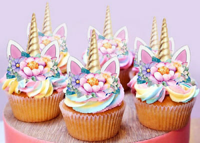 AU10.95 • Buy 24 Stand Up Mini Unicorn Gold Horn And Ears Edible Cupcake Cake Toppers  Images