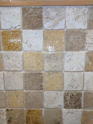 £35 • Buy Travertine Tumbled  Tiles 100mm X 100mm X 10mm Choice Of Colours