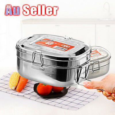AU16.45 • Buy Double Layer Stainless Steel Container Bento Food Picnic Lunch Box Case