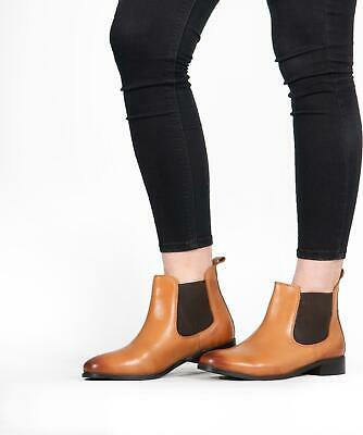 Shuperb PIPPA Ladies Womens Casual Soft Leather Pull On Chelsea Ankle Boots Tan • 25£