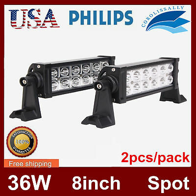 2x 8inch 36w Philips Led Light Bar Flood Off Road Ute Jeep Truck Wiring Kit Lawrensongroup Co Nz