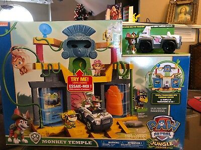 $159.99 • Buy PAW Patrol Jungle Rescue Monkey Temple Playset With Tracker Pup Figure & Vehicle
