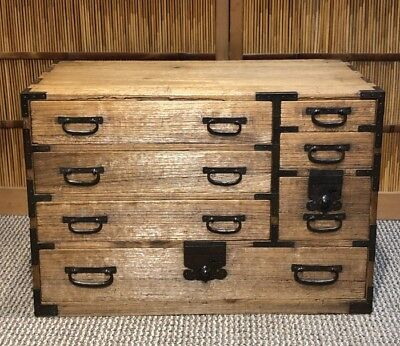 Japanese Antique Ko Tansu Small Chest • 750$