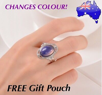 AU8.50 • Buy Retro Mood Ring Temperature Emotion Feeling Colour Changing Adjustable Rings