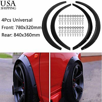 $30.44 • Buy 4Pcs W/ Hardwares Black Universal Fender Flares Flexible Auto Car Body Kit New