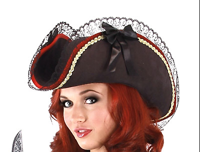 303c5aa782a Women s Ladies Black Pirate Hat Buccaneer Red Trim Lace Bows Cute Halloween  • 29.99