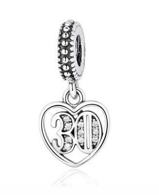 925 Solid Sterling Silver Charm EURO Style Bracelet 30 Age 30s Pandora's Bliss • 11.04£