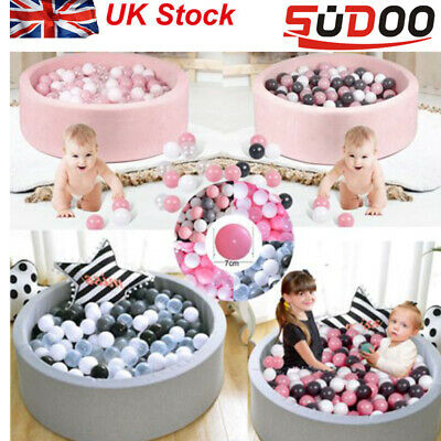 SUDOO Soft Baby Ball Pit Foam Paddling Pool Pit 90x30cm With 200Balls Grey/pink • 94.99£