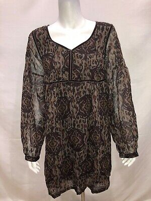 £10.64 • Buy Nicole Richie Collection Ikat Print Tunic With Velvet Trim Brown Size 12