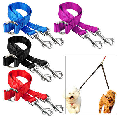 AU9.34 • Buy 2 Way Nylon Dog Coupler Leash No Tangle Double Leads For Twin Two Dogs Walking