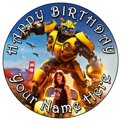 Bumblebee Transformers - 7.5  Personalised Round Edible Icing Cake Topper (1) • 3.49£