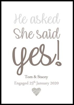 Personalised Engagement Gift Present Print Including Frame Wedding Anniversary • 10£