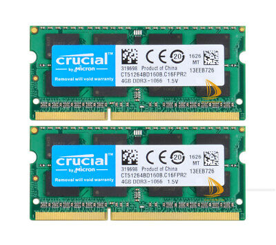 $29.44 • Buy Crucial 8GB 2x4GB PC3-8500 DDR3 1066MHz Memory For MacBook Pro Mid-2010 13 A1278
