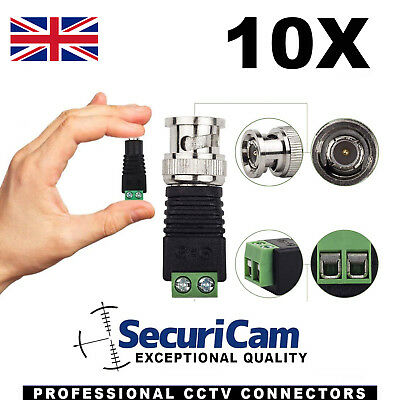 10 X BNC Plug To Screw Terminal CCTV Camera Video CAT5 Connector Adapter Baluns • 3.49£