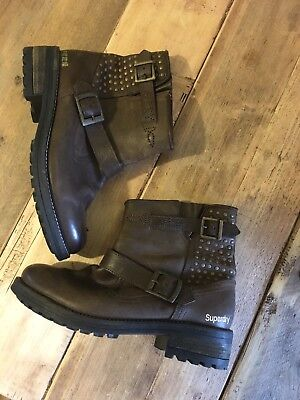 ❤️women's Superdry Diablo Womens Brown Leather Ankle Boots - Size 7 ❤️ • 60£