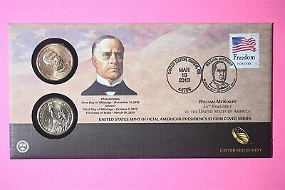 $22.25 • Buy 2013 P&D William McKinley One Dollar Coin Cover Limited Edition Mint Code P45