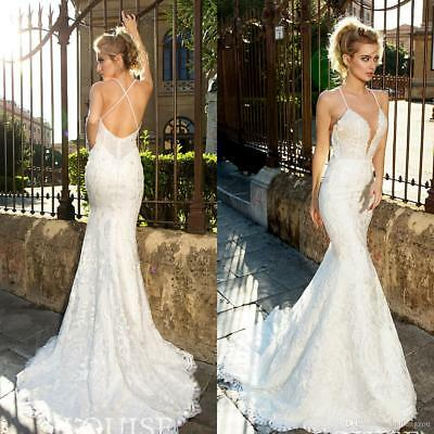 $ CDN214.74 • Buy Sexy Backless Spaghetti Straps Wedding Dresses Lace Applique Mermaid Bridal Gown