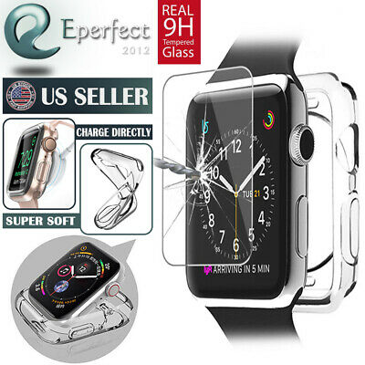 $ CDN10.51 • Buy For Apple Watch Series 6 5 4 SE 3 44m 42 Soft Clear Bumper Case Screen Protector