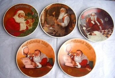 $ CDN79.99 • Buy Knowles Norman Rockwell Santa Christmas Collector Plates Lot Of 5 Plates