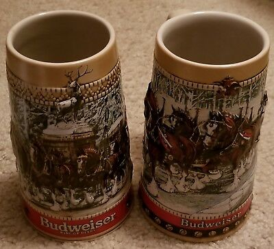 $ CDN35.66 • Buy 2 Count 1988 Budweiser Beer Steins W/ Logos,  Clydesdales & Wagons, 6.5  Height