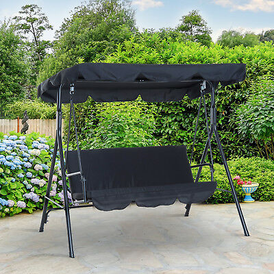 View Details Outsunny Patio Metal Swing Chair Outdoor Hammock 3 Seater Canopy Garden Bench • 66.99£
