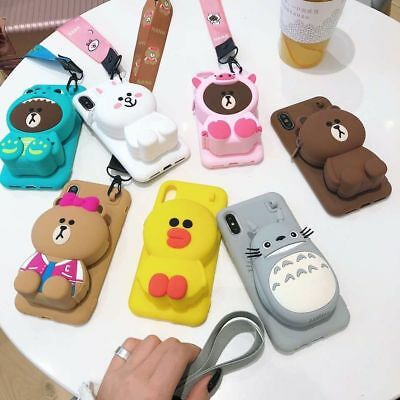 For IPhone 11 Pro Max XS X 7 8+ Cute Bear Rabbit Coin Purse Strap Bag Phone Case • 8.97£