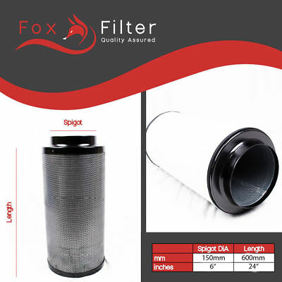 Fox Carbon Filter Grow Room 5  Inch 150 / 600 Hydroponics Premium Odour Removal • 71.30£