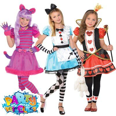 Girls Cheshire Cat Costume Kids Alice Fancy Dress Queen Of Hearts Book Day • 18.29£