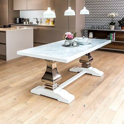 New Carrara Marble White Dining Table With Chrome Pedestal Steel Legs - Sets • 995£