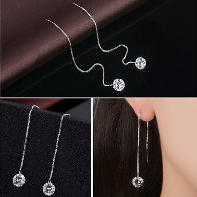 AU5.99 • Buy 925 Sterling Silver Crystal Thread Threader Drop Earrings 9cm